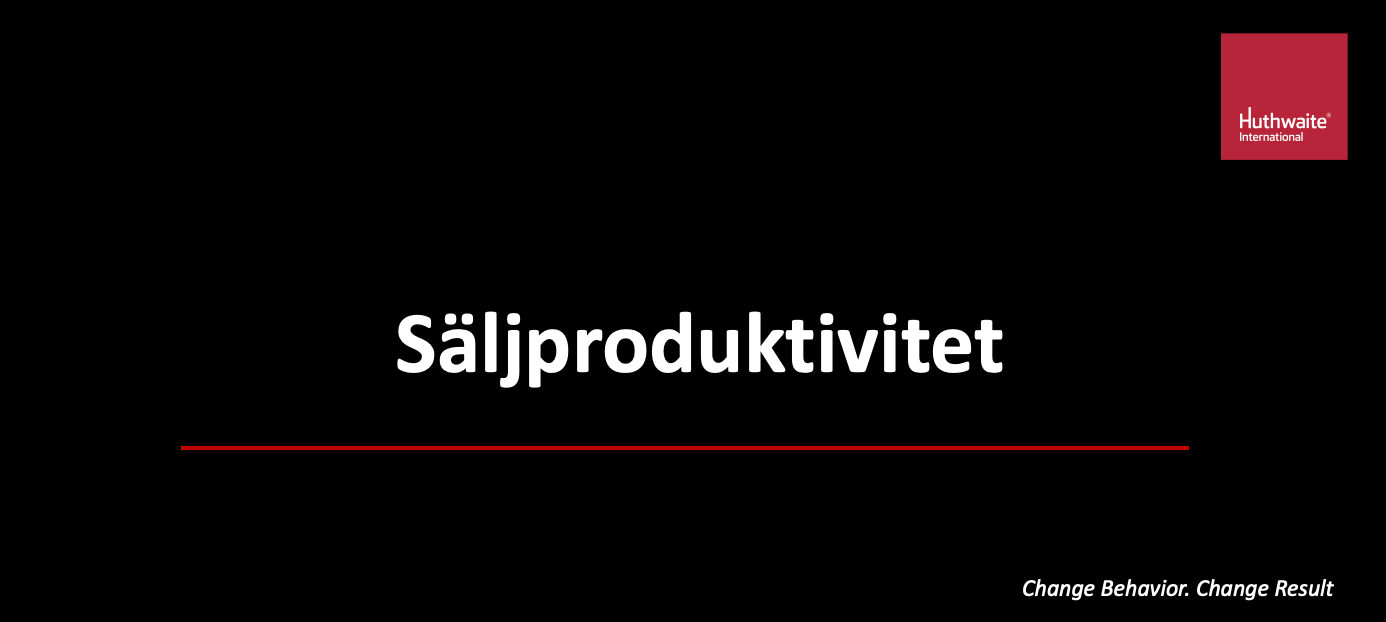 Säljproduktiviteten